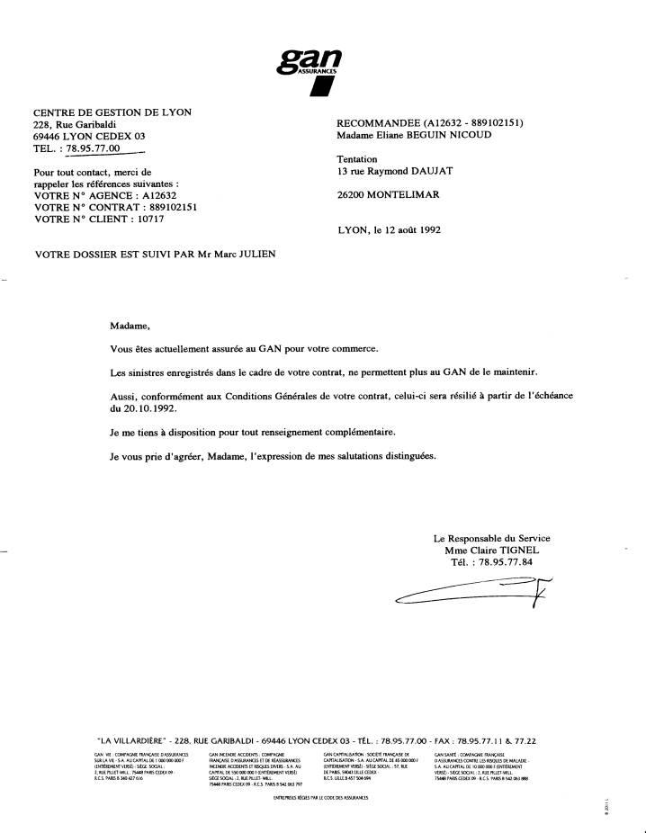 Gan assurances censure nicoud eliane contrat nicoud for Assurance maison avec dossier criminel