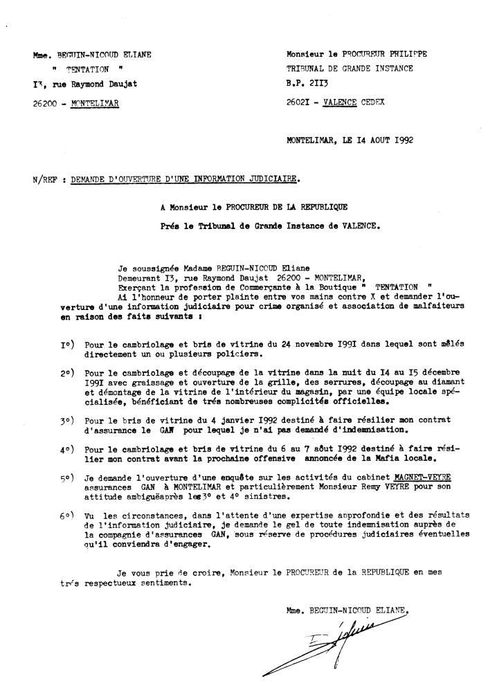 Lettre Au Procureur De La Republique Signalement
