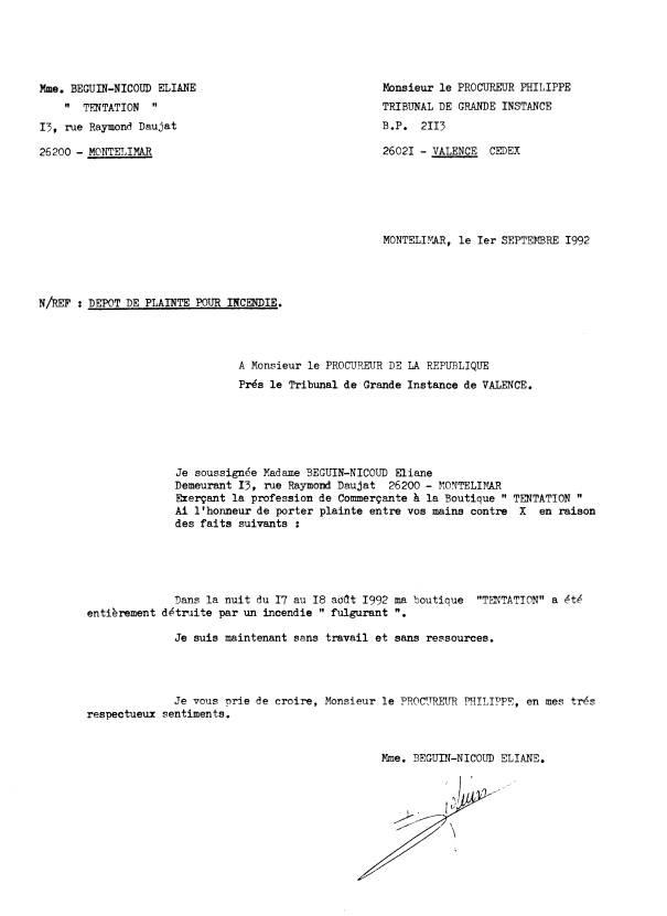 De la corruption au crime d 39 etat censure nicoud eliane mes plaintes - Lettre au procureur pour plainte ...